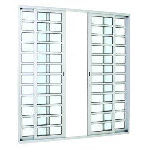 Porta de Correr Alumínio Alumifort Sasazaki com Divisão Horizontal 4 Folhas 216cmx250cmx8,7cm Branco