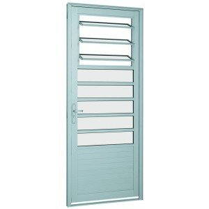 Porta de Alumínio com Báscula Alumifort Sasazaki 216cmx88cmx5,4cm Branco