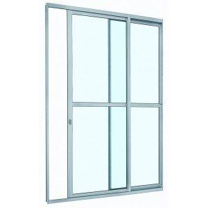 Porta de Correr Alumínio com Divisão Central Alumifit 2 Folhas Sasazaki 216cmx160cmx6,6cm Branco