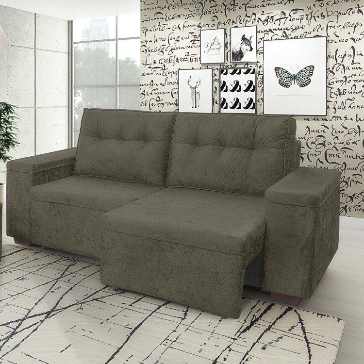 Sof retr til 3 lugares amarok somopar marrom em sof for Sofa retratil 6 lugares