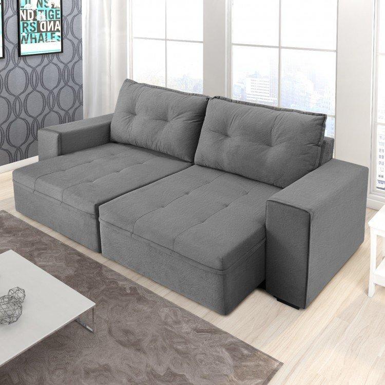 Sof retr til 3 lugares turim somopar cinza em 3 lugares for Casas de sofas en valencia