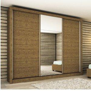 Guarda Roupa Casal com Espelho 3 Portas Titanium Tcil Móveis Imbuia Rustic