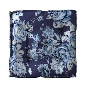 Almofada Futon Estampada 40cm Canvas Tecelagem Damata Floral Azul
