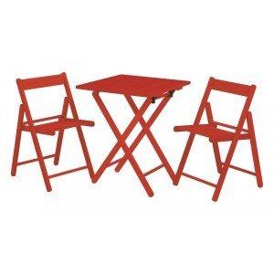 Conjunto Mesa e 2 Cadeiras Dobráveis Aconchego Tramontina Vermelho