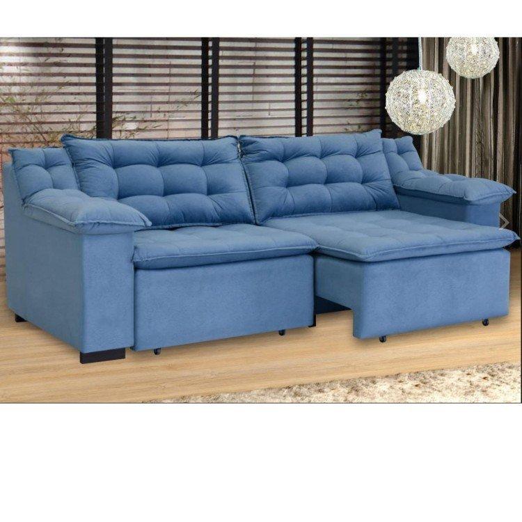 Sof retr til 4 lugares suede confort umaflex azul em sof for Sofa 4 lugares retratil