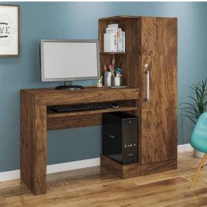 Mesa para Computador 1 Armário e Prateleira Office Valdemóveis Ipê