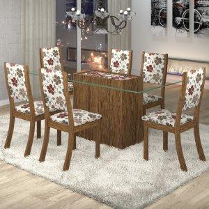 Conjunto Sala de Jantar Mesa Lina 6 Cadeiras Kiara Viero Avelã/Passion