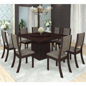 Conjunto para Sala de Jantar Mesa e 8 Cadeiras Viero Lara Choco/Canela