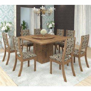 Conjunto para Sala de Jantar Mesa e 8 Cadeiras Viero Lara Avelã/Medina