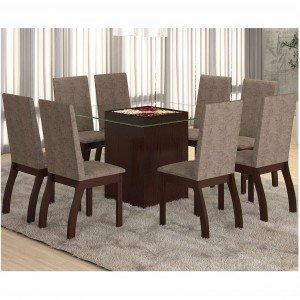 Conjunto para Sala de Jantar Mesa e 8 Cadeiras Ale Viero Choco/Canela