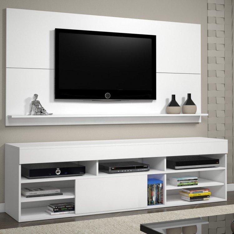 Rack Para Sala De Tv Branco ~ Rack com Painel para TV até 55 Polegadas Twin Siena Móveis Branco em