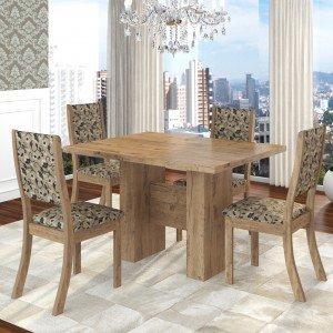 Conjunto Sala de Jantar Mesa Kaly e 4 Cadeiras Kiara Twist Siena Móveis Fendi/Medina
