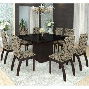 Conjunto Sala de Jantar Mesa Nesty e 8 Cadeiras Slin Lupy Siena Móveis Choco/Medina