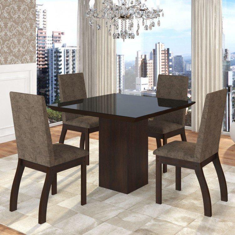 Conjunto sala de jantar mesa em vidro 4 cadeiras boly for Sala 2 conjunto de artes escenicas