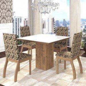 Conjunto Sala de Jantar Mesa em Vidro 4 Cadeiras Boly Siena Móveis Fendi/Medina