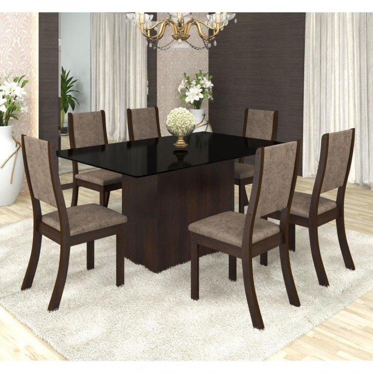 Conjunto sala de jantar mesa em vidro 6 cadeiras drive for Mesas auxiliares para sala modernas