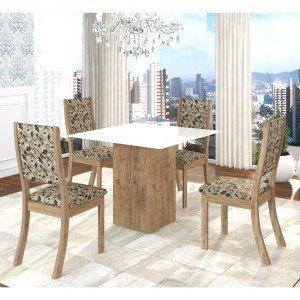 Conjunto Sala de Jantar Mesa em Vidro 4 Cadeiras Filty Siena Móveis Fendi/Medina