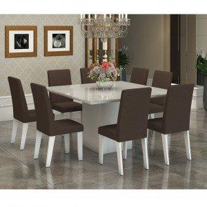Conjunto Sala de Jantar Mesa Tampo em Vidro Branco 8 Cadeiras Alma Viero Branco/Bombom