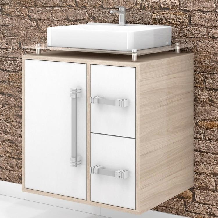 Gabinete para Banheiro Cerocha Centauri 60 cm (Acompanha Cuba e Tampo) Berlin -> Tampo E Cuba Para Banheiro