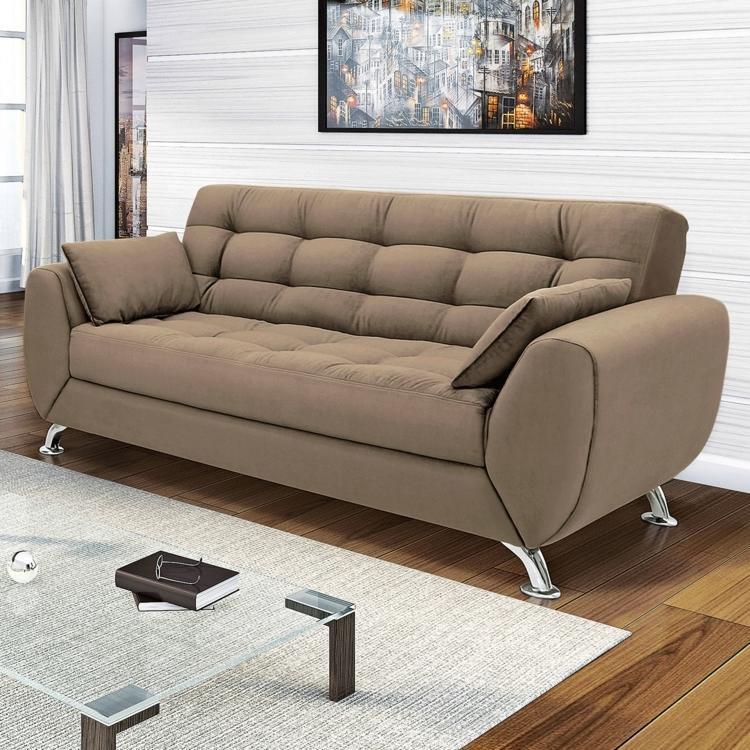 sof 3 lugares larissa linoforte 902 marrom claro em 3 lugares na madeiramadeira. Black Bedroom Furniture Sets. Home Design Ideas