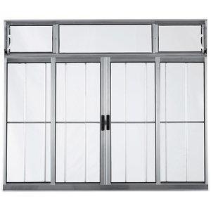 Janela Ebel 4 Folhas em Alumínio com Bandeira 1,00mx1,20m Vidro Canelado com Grade Cinza
