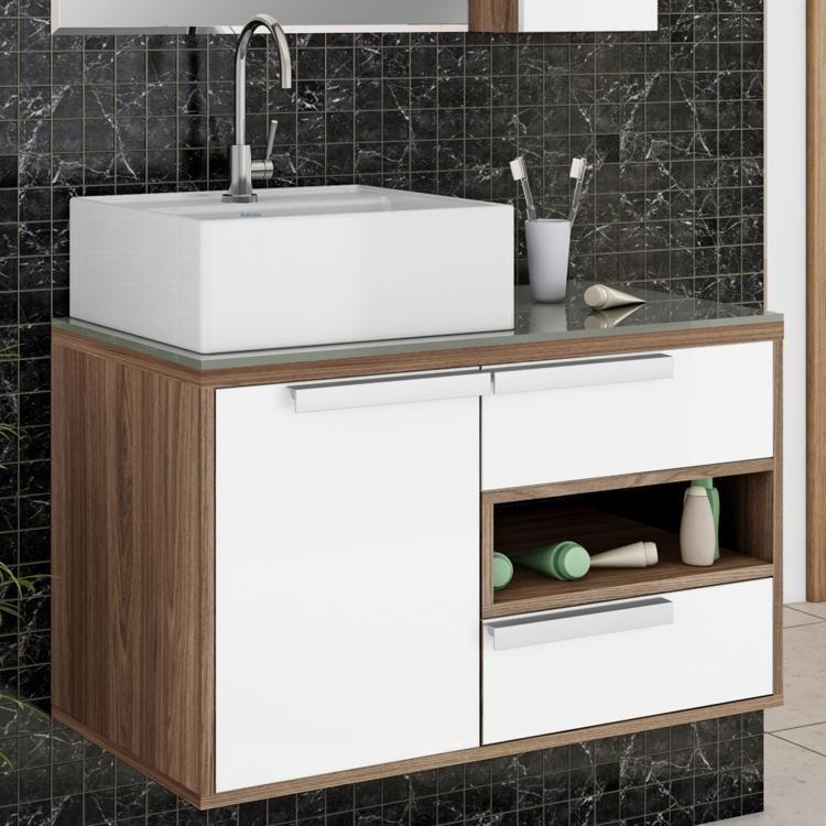 Gabinete para Banheiro Itatiaia Luna IGBD1G2 80 (Não Acompanha Cuba) Carvalho # Gabinete Para Banheiro Branco Com Cuba