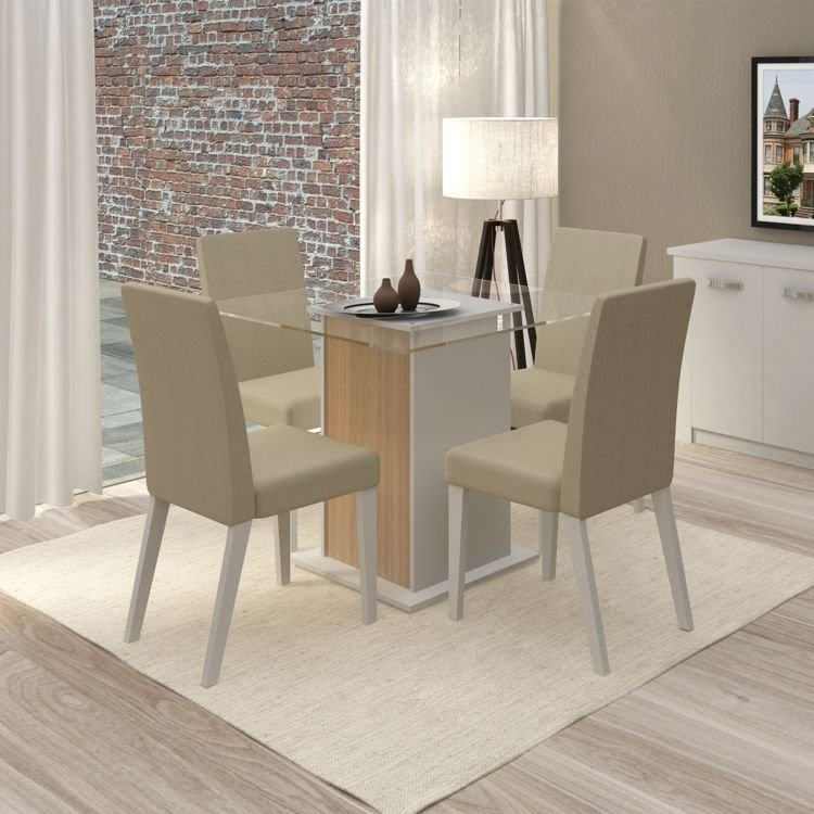Conjunto Sala De Jantar Com Banco ~ Conjunto Sala de Jantar Mesa e 4 Cadeiras Tais Madesa BrancoCapri em