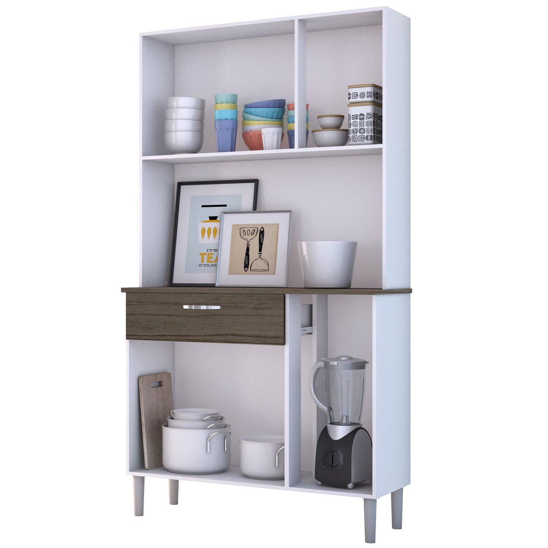 Armário de Cozinha 6 Portas Pan Kit's Paraná Branco/Rovere/CP-Dubai