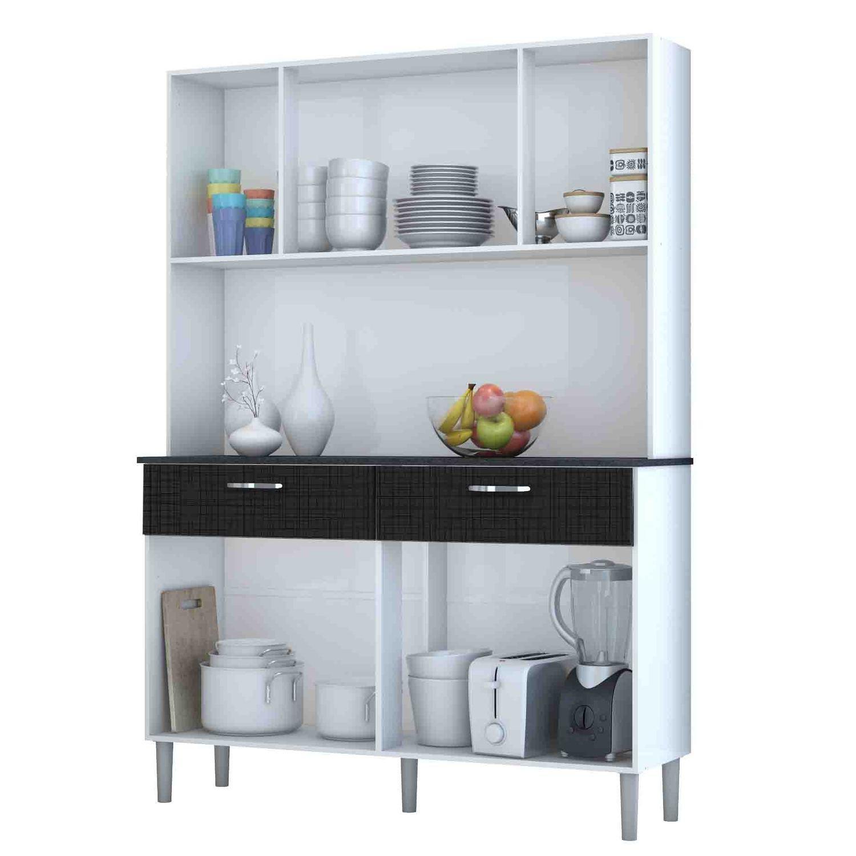 Armário de Cozinha 8 Portas Pan Kit's Paraná Branco/Linho Branco/CP- Linho Preto