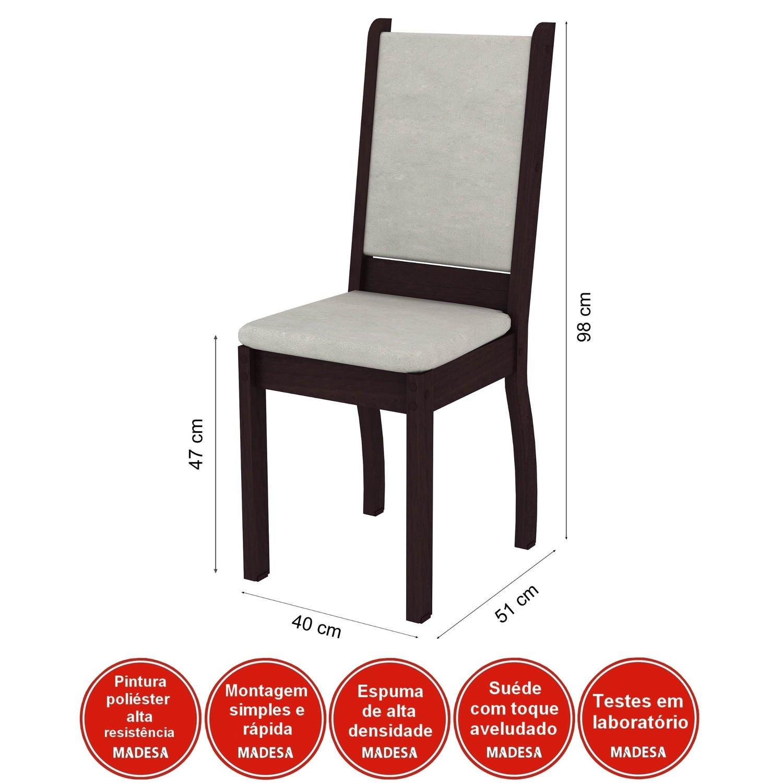 Conjunto Canto Alemão Mesa com Banco 2 Cadeiras Dortmund Madesa Tabaco/Suede Pérola