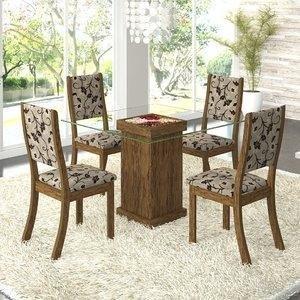 Conjunto para Sala de Jantar Mesa e 4 Cadeiras Viero Iris Avelã/Medina