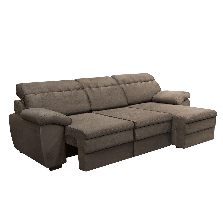 Sof 3 lugares com chaise comfort tj1456 siena m veis r for Sofa 03 lugares com chaise
