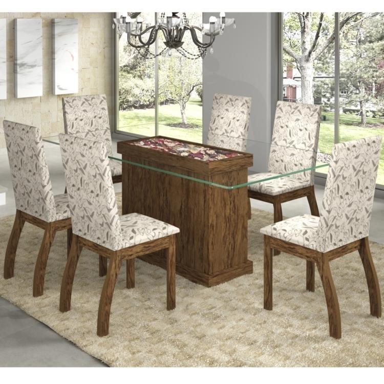 Conjunto de Mesa e Cadeira Magnólia 6 Cadeiras Siena Móveis