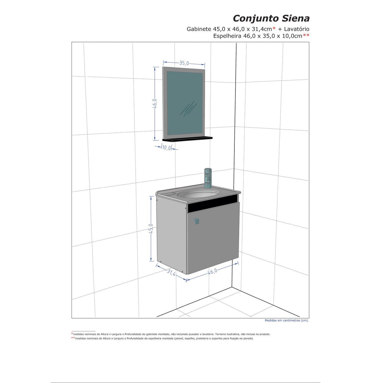 Gabinete para Banheiro com Espelheira Siena Móveis Bechara (Acompanha  #9A3731 1500x1500 Banheiro Branco Siena