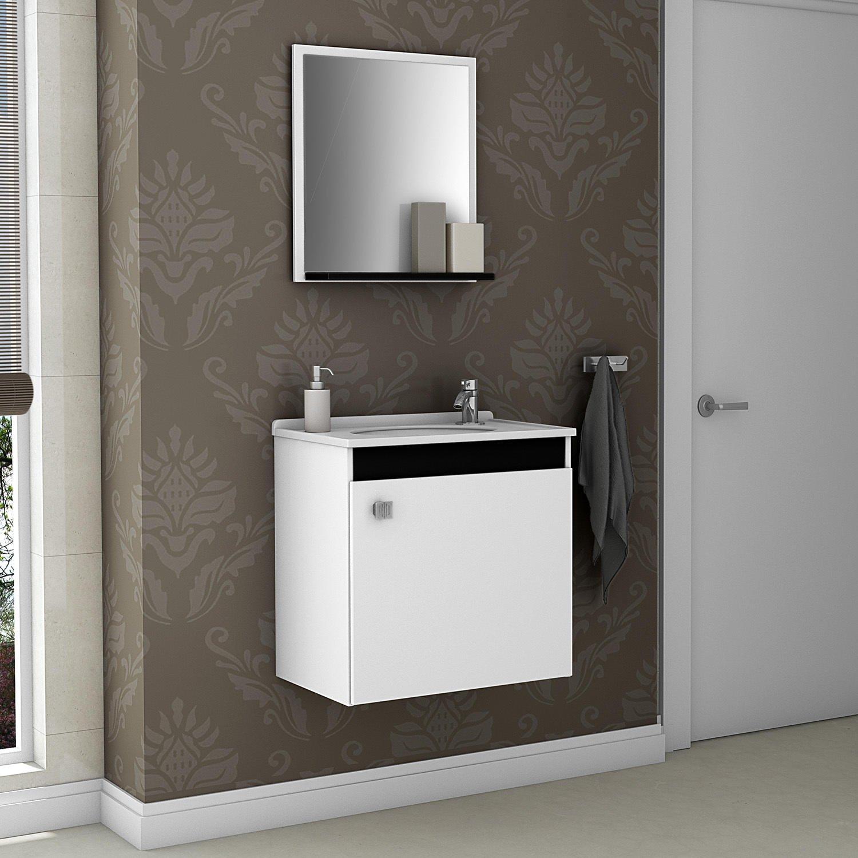 Gabinete para Banheiro com Espelheira Siena Móveis Bechara (Acompanha  #4E5B3F 1500x1500 Banheiro Branco Siena