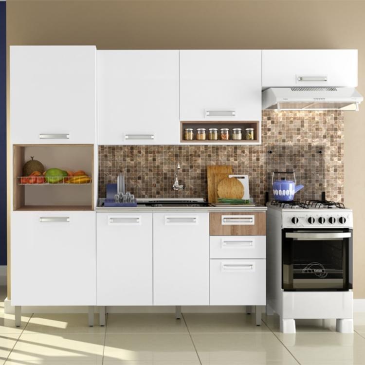 Artesanato Ucraniano ~ Cozinha Compacta Vita Itatiaia Branco Brilho Carvalho