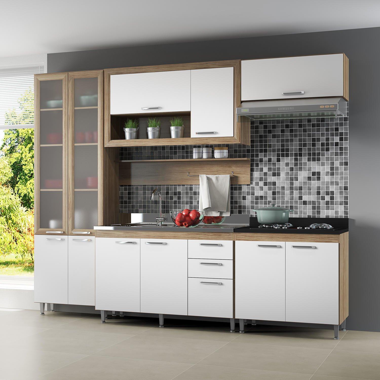 Cozinha Compacta 5049 Toscana Siena Móveis Não Acompanha Tampo Argila / Branco / Preto