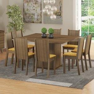 Conjunto Sala de Jantar Mesa e 8 Cadeiras Madesa Clarice Rustic/Palha