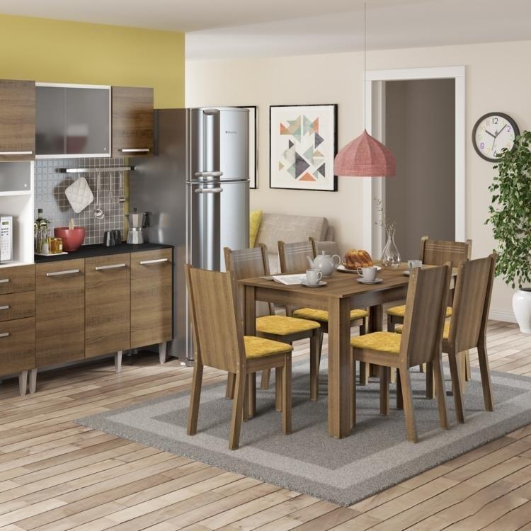 Sala De Jantar Fabrica ~ Conjunto Sala de Jantar Mesa e 6 Cadeiras Maris Madesa RusticPalha em