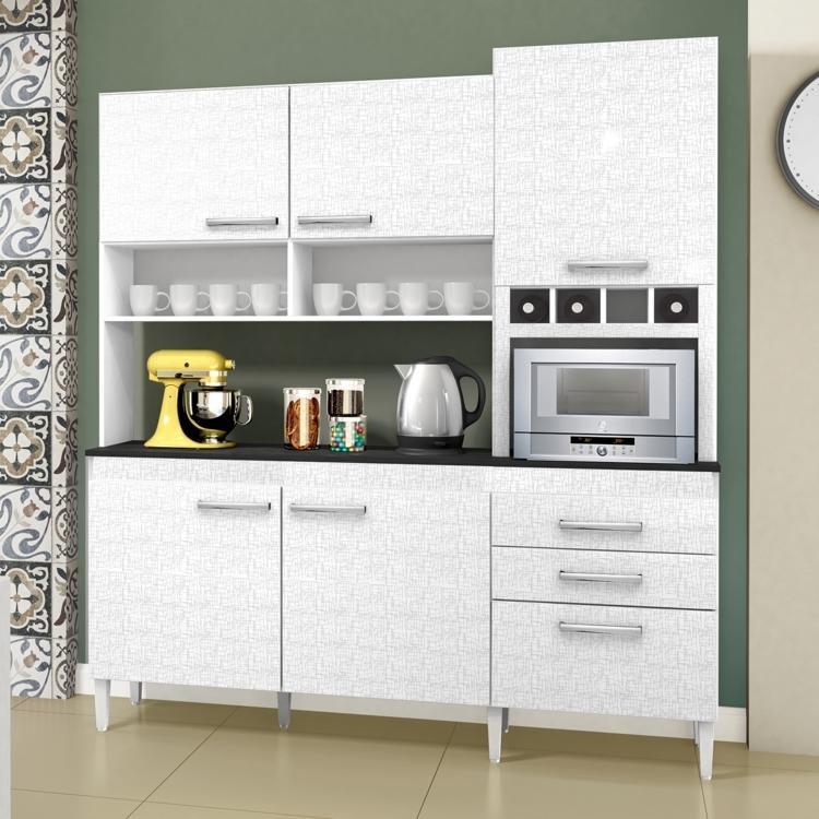 Arm rio de cozinha 6 portas 2 gavetas bano chf branco for Armario 6 portas