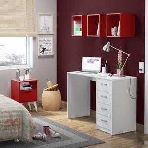 Conjunto Home Office Mash Madesa Branco/Vermelho