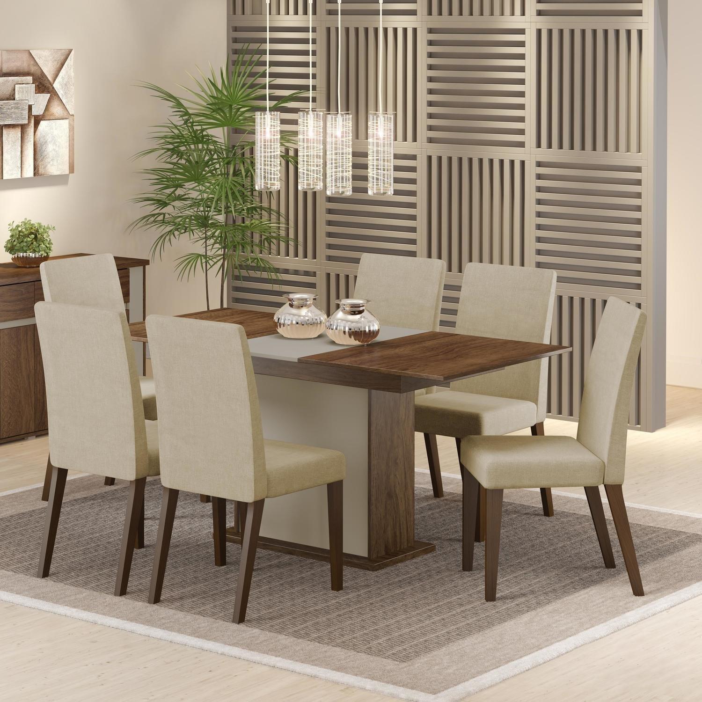 Conjunto Sala de Jantar Mesa e 6 Cadeiras Elenice Madesa Rustic / Crema / Tecido Saara