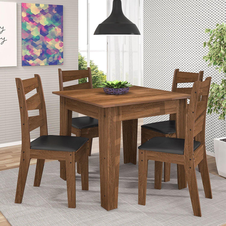 Conjunto para sala de jantar mesa e 4 cadeiras isis celta for Modelos de comedores pequenos