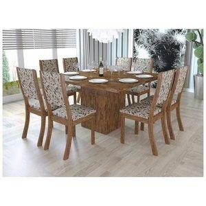 Conjunto Sala de Jantar Mesa e 8 Cadeiras Caqui Viero Avelã/Medina
