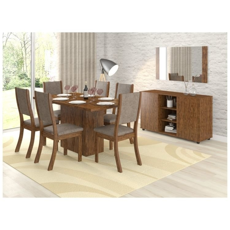 Conjunto sala de jantar mesa 6 cadeiras buffet e espelho for Sala 2 conjunto de artes escenicas