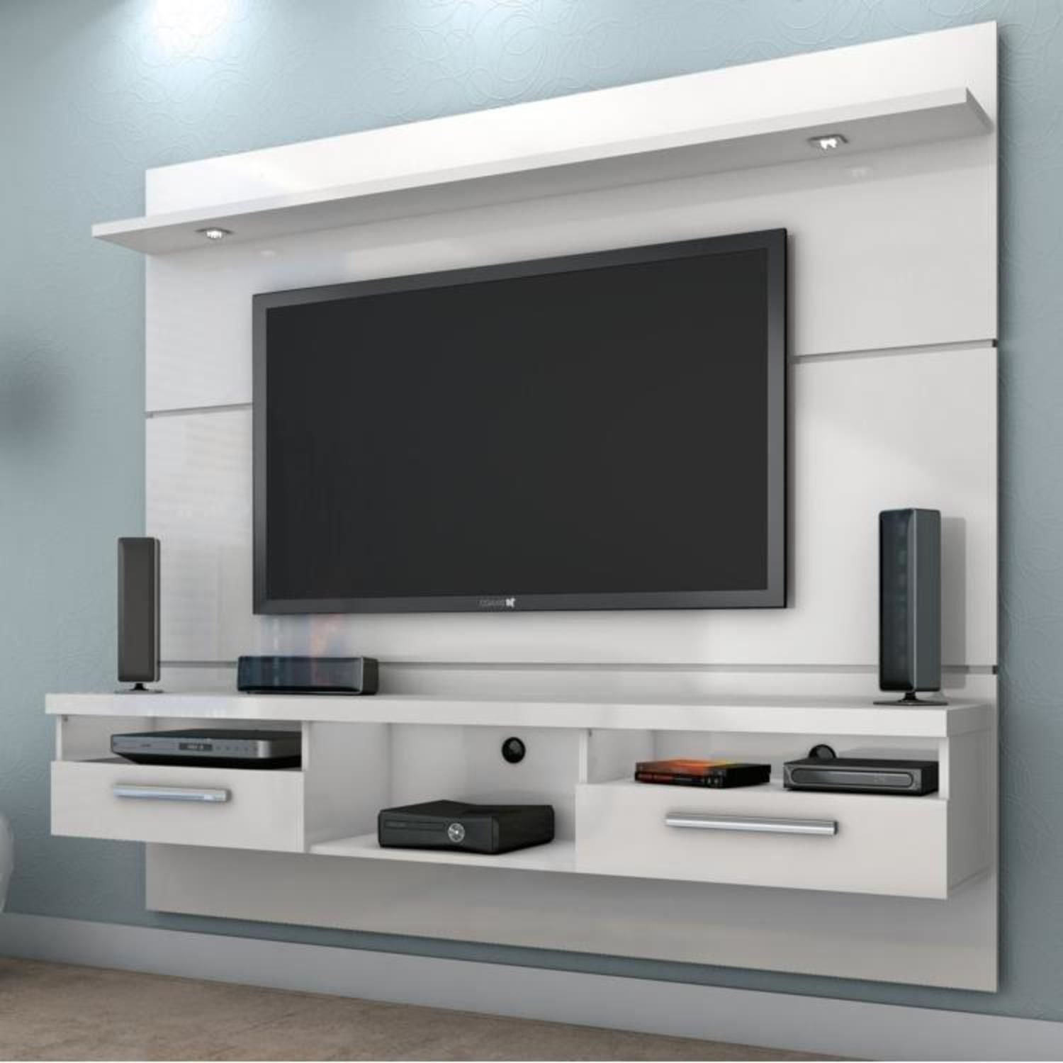 Estante para tv e home theater evidence valdem veis branco for Modelos de muebles para tv modernos