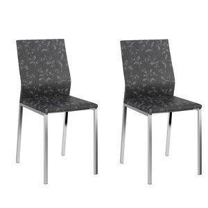 Conjunto 2 Cadeiras Columbia Carraro Fantasia Preto/Cromado