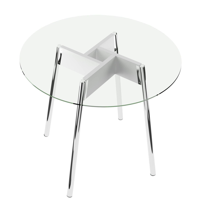 Mesa para Sala de Jantar Quartzo Carraro Branco / Vidro Incolor #5E6D5E 1500x1500