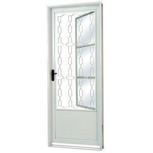 Porta de Aço com Postigo Grade Elo Vidro Mini Boreal Minas Sul MGM 217cmx85cm Branco