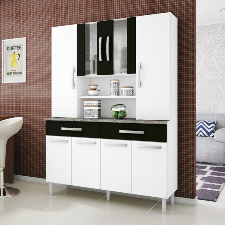 Preço De Armario De Cozinha Na Insinuante : Arm?rio de cozinha portas aram?veis branco preto em